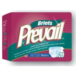 "Briefs Prevail, Full Mat Body Shaped, 32-44"", Medium, Moderate-Heavy Absorbency, White, 20/PK 4PK/CS"
