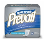 Pad Prevail, Male Guard, Bladder Control, Polymer, Fluff, Very Absorbent, 14/PK, 9PK/CS