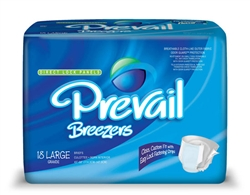 "Briefs Prevail, Breezers, Limited Mat Body Shaped, 45-58"", Large, Moderate-Heavy Absorbency, Blue, 18/PK, 4PK/CS"