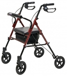 Set n' Go Wide Height Adjustable Rollator, Burgundy