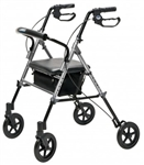 Set n' Go Wide Height Adjustable Rollator, Silver