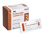 "PVP Iodine Prep Swabsticks, Chlorascrub, Cotton Wood 4"", 3/EA, 25/BX, 10BX/CS"