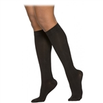 Sigvaris Cushioned Cotton Women's Calf-High Compression Stockings, Black, Closed Toe, Medium Short, 20 to 30 mmHg Compression