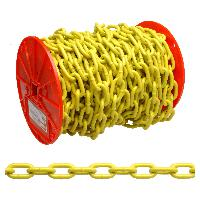 "Campbell PD0725027 3/16"" Grade 30 Proof Coil Chain, Yellow Polycoat, 100' per Reel"