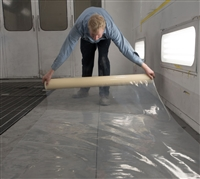 "RBL 421 Spray Booth Floor 48"" x 200' Roll Self-Adhering, Heavy-Duty Clear Plastic"
