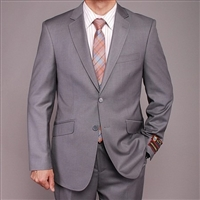 Barry's Menswear Solid Gray 2 Button Suit