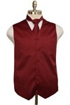 SOLID FORMAL SATIN VEST WITH TIE AND HANKY