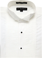 wing tip cotton rich convertable cuff tuxedo shirt