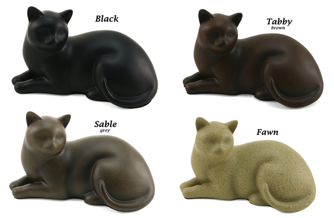 Cozy Cat Pet Cremation Urn | Black | Fawn | Sable | Tabby