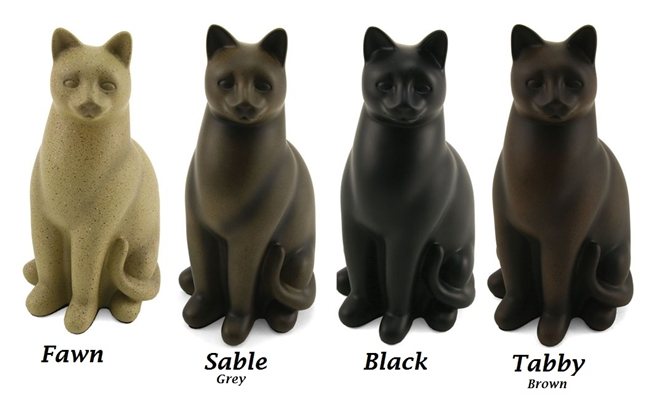 Elite Cat Cremation Urn | Black | Fawn | Sable | Tabby