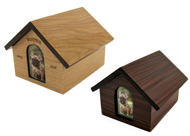 Pet House Cremation Urn |  Dark Brown | Light Tan