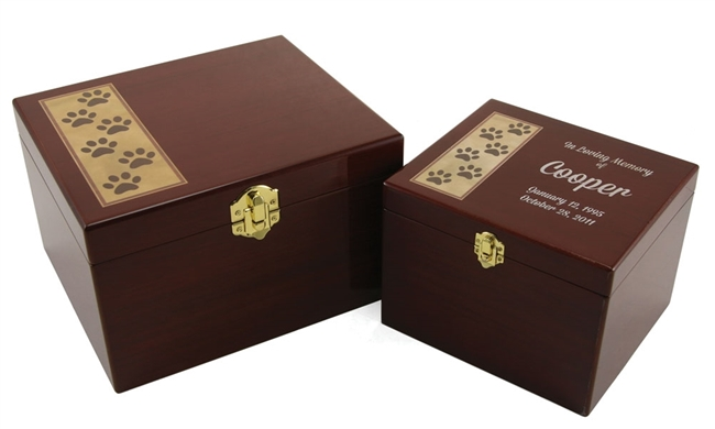 Paw Print Memory Chest Cremation Urn | Cherry