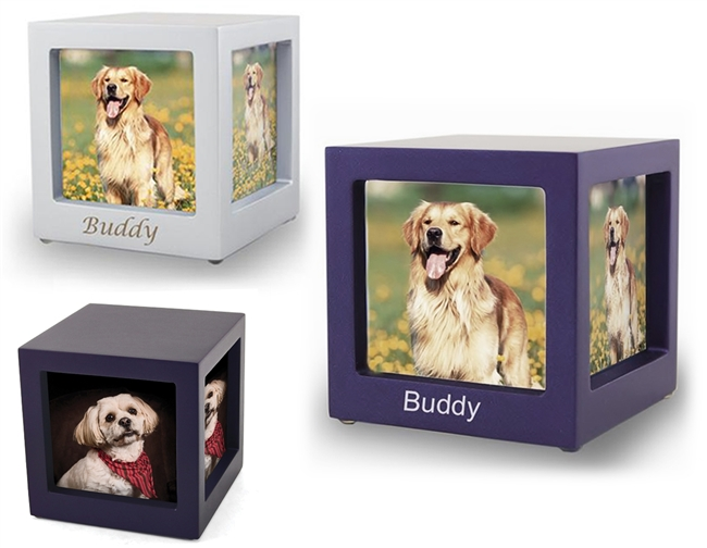 MDF Photo Display Cube Pet Cremation Urn | Navy | Silver | Violet