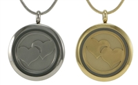 Hearts Glass Pet Cremation Pendant | Bronze | Pewter