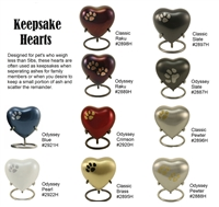 Keepsake Hearts Pet Cremation Urn | Slate | Raku | Pewter | Moonlight Blue | Crimson | Pearl
