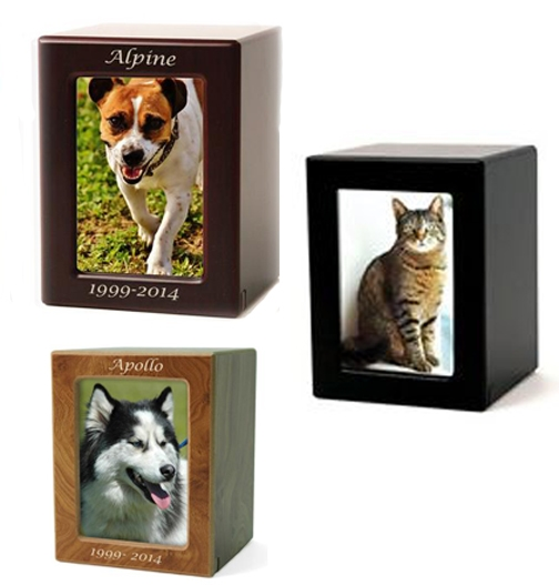 MDF Photo Pet Cremation Urn | Cherry | Rustic Natural | Black