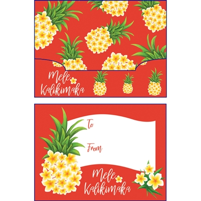 Plumeria Pineapple Mele Kalikimaka Gift Card Holder