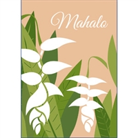 Heliconia White Mahalo Note Cards