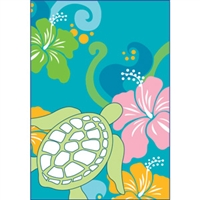 Honu Hibiscus Turquoise Glitter Note Cards