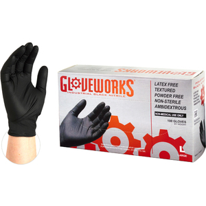 Gloveworks Black Nitrile Industrial Latex-Free PF Disposable Gloves | 5 mil Thick | Sizes S-XXL | 100 GlovesBox; 10 BoxesCase = Case of 1000 (BINPF)