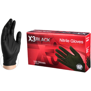 AMMEX BX3 Black Nitrile Industrial Latex-Free PF Disposable Gloves | 3 mil Thick | Sizes S-XXL | 100 GlovesBox; 10 BoxesCase = Case of 1000 (BX3)