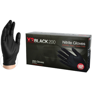 AMMEX BX3D Black Nitrile Industrial Latex-Free PF Disposable Gloves | 5 mil Thick | Sizes S-XXL | 200 GlovesBox; 10 BoxesCase = Case of 2000 (BX3D)