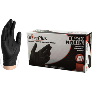 GlovePlus Black Nitrile Industrial Latex-Free PF Disposable Gloves | 5 mil Thick | Sizes S-XXL | 100 GlovesBox; 10 BoxesCase = Case of 1000 (GPNB)