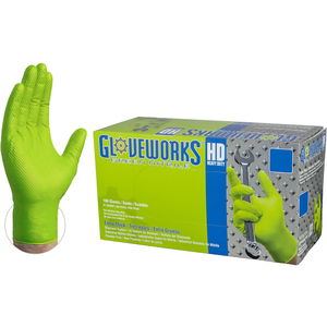 Gloveworks HD Green Nitrile Industrial Latex-Free PF Disposable Gloves | 8-9 mil Thick | Sizes M-XXL | 100 GlovesBox; 10 BoxesCase = Case of 1000 (GWGN)