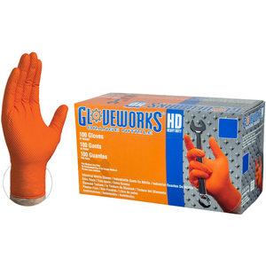 Gloveworks HD Orange Nitrile Industrial Latex-Free PF Disposable Gloves | 8-9 mil Thick | Sizes S-XXL | 100 GlovesBox; 10 BoxesCase = Case of 1000 (GWON)