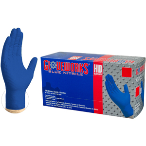 Gloveworks HD Royal Blue Nitrile Latex-Free PF Disposable Gloves | 6 mil Thick | Sizes M-XXL | 100 GlovesBox; 10 BoxesCase = Case of 1000 (GWRBN)