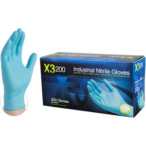 AMMEX X3D Blue Nitrile Industrial Latex-Free PF Disposable Gloves | 5 mil Thick | Sizes S-XXL | 200 GlovesBox; 10 BoxesCase = Case of 2000 (X3D)