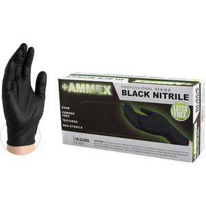 AMMEX Black Medical Nitrile Exam Latex-Free PF Disposable Gloves | 4 mil Thick | Sizes S-XL | 100 GlovesBox; 10 BoxesCase = Case of 1000 (ABNPF)