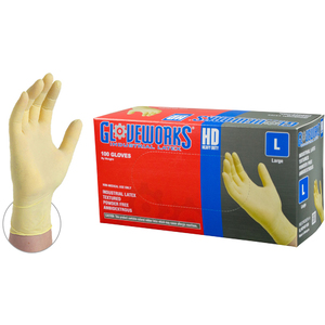 Gloveworks Ivory Latex Industrial Powder Free Disposable Gloves | 8 mil Thick | Sizes S-XXL | 100 GlovesBox; 10 BoxesCase = Case of 1000 (ILHD)