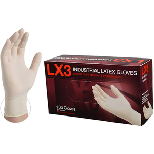 AMMEX LX3 Ivory Latex Industrial Powder Free Disposable Gloves | 3 mil Thick | Sizes S-XL | 100 GlovesBox; 10 BoxesCase = Case of 1000 (LX3)