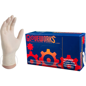Gloveworks Ivory Latex Industrial Powder Free Disposable Gloves | 5 mil Thick | Sizes XS-XL | 100 GlovesBox; 10 BoxesCase = Case of 1000 (TLF)