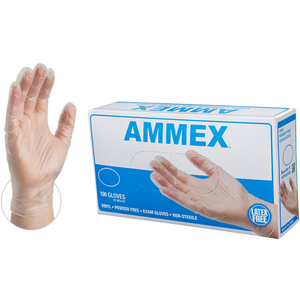 AMMEX Clear Vinyl Exam Latex Free Disposable Gloves | Sizes S-XL | 100 GlovesBox; 10 BoxesCase = Case of 1000 (VPF)