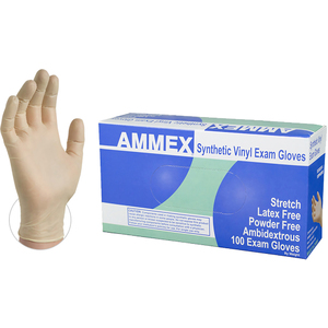 AMMEX Ivory Stretch Vinyl Exam Latex Free Disposable Gloves | Sizes S-XL | 100 GlovesBox; 10 BoxesCase = Case of 1000 (VSPF)