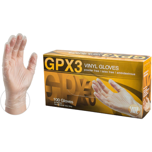 AMMEX GPX3 Clear Vinyl Industrial Latex Free Disposable Gloves | Sizes S-XL | 100 GlovesBox; 10 BoxesCase = Case of 1000 (GPX3)