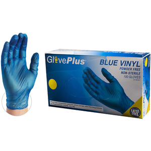 GlovePlus Blue Vinyl Industrial Latex Free Disposable Gloves | Sizes S-XL | 100 GlovesBox; 10 BoxesCase = Case of 1000 (IVBPF)
