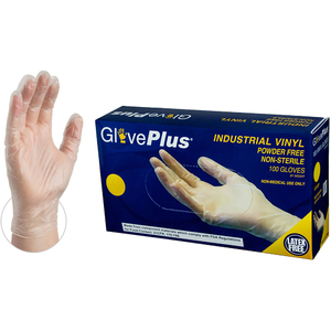 GlovePlus Clear Vinyl Industrial Latex Free Disposable Gloves | Sizes S-XL | 100 GlovesBox; 10 BoxesCase = Case of 1000 (IVPF)