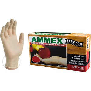 AMMEX Stretch Synthetic Ivory Vinyl Latex Free Disposable Gloves | Sizes S-XL | 100 GlovesBox; 10 BoxesCase = Case of 1000 (IVSPF)