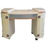 Junjie Manicure Table - Marble Top with Wood Base (HZ-MM)