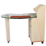 Fai Manicure Table - Glass Top with Wood Base (HZ-YG)