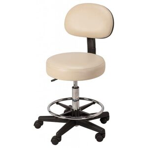 "Round Air-Lift Stool with Backrest - in Black Sand or White 20.5"" - 28"" Height"