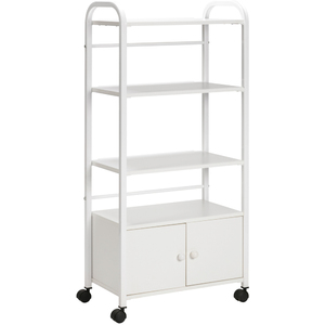 TS-4 Tall Trolley Utility Cart with 4-Shelves + Cabinet