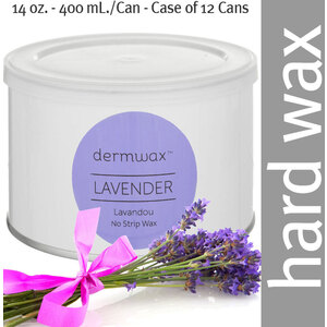 Dermwax Lavender - Lavandou Wax Pot Stripless Hard Wax 14 oz. - 400 mL. per Can - Case of 12 Cans (D1012 X 12)