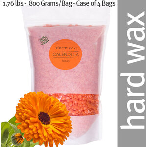 Dermwax Organic Calenula - Natura Wax Beads Stripless Hard Wax 1.76 lbs.- 800 Grams per Bag - Case of 4 Bags (D2010 X 4)