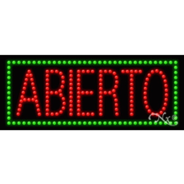 "LED Sign - Abierto 11""H x 27""W x 1""D (20177)"