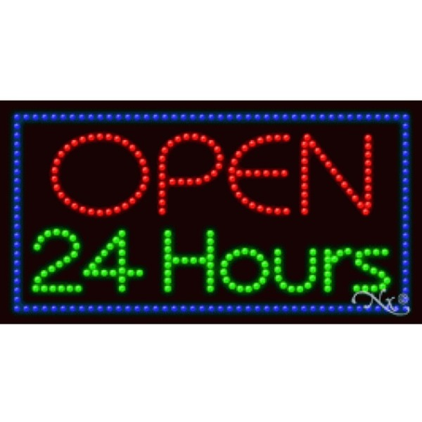 "LED Sign - Open 24 Hours 17""H x 32""W x 1""D (20416)"