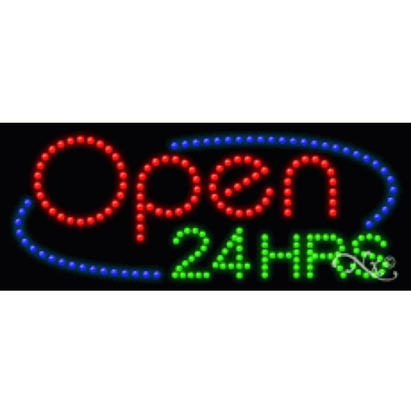 "LED Sign - Open 24 Hours 11""H x 27""W x 1""D (20856)"